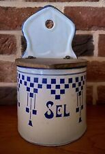 Ancienne boite à sel émaillée LUSTUCRU enamel salt box mint