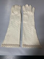 """Vintage Ladies Gloves White Long Beaded Faux Pearls 14"""" Long Stunning & Unique"""