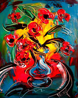 FLOWERS   modern abstract     Large Abstract Modern Original Oil Painting  NO RS
