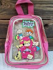 Vintage 90's Nickelodeon Rugrats Backpack Purse Clear & Pink