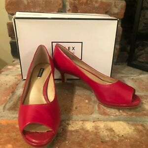 Alex Marie Womens Leyla Red Leather Peep Toe Pumps Mid Heels Shoes Size 8.5M