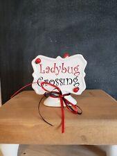 New ListingFarmhouse Style White Ceramic Pedestal Ladybug Sign