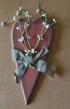 """Rustic Country 9x4"""" Wood Red Heart white Pip Berry Berries Sign Floral Decor"""