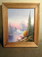 """Nice """"Forest And Waterfall Landscape Scene""""- Signed And Framed"""