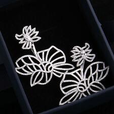 Boucles d'Oreilles Clous Plaqué Or Blanc CZ Filigrane Fleur Gros Fin Mariage G1