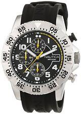 Nautica Men's Chronograph Quartz Stainless Steel Case Black Dial Watch NAI16510G