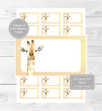 Giraffe 42 Self Adhesive Stickers, Blank For Address Labels/Gift Tags/Party Bags