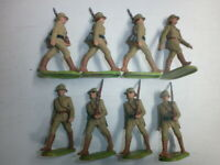 Konvolut 8 alte Elastolin Kunststoff Soldaten zu 7.5cm Afrikakorps Marschzug