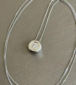 """9ct White Gold Solitaire Diamond Necklace 0.10ct Pendant & 18"""" Chain Bezel Set"""