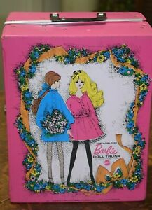 Vintage The World of Barbie Doll Trunk 1968 with clothes and accessories