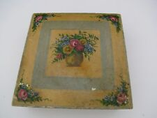 """Vintage Rosemaled Rose Floral Painted Wooden Box Hinged Lid Shabby 8.4"""" Square"""