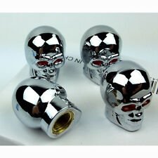 4PCS  Car Truck Lot Tyre Tire Dust Cap Air Valve Stem Red Eyes Evil Skull