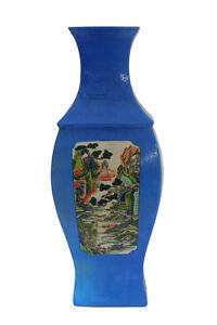 Chinese Square Blue Scenery Porcelain Vase cs2132