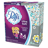 Puffs Ultra Soft Facial Tissue 2-Ply White 56 Sheets/Box 4/Pack 35295PK