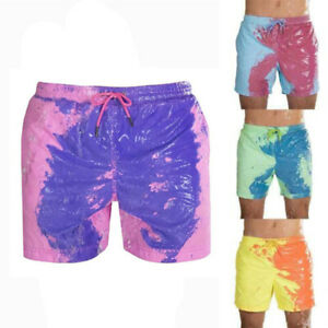 Temperature-Sensitive Color-Changing Beach Swim Pants Men Short Male Boy Summer