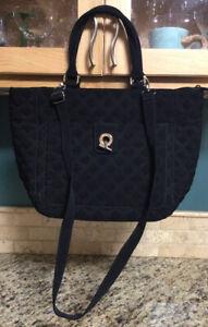 Vera Bradley CROSSBODY TOTE Bag Black Quilted Large Purse