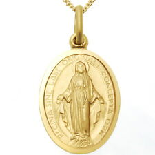"9CT GOLD MIRACULOUS MARY MEDAL PENDANT NECKLACE WITH 18"" CHAIN - OUR LADY"