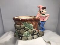 Vintage Mid Century Pink Blue Pixie Elf Ceramic Planter Succulents Made In Japan
