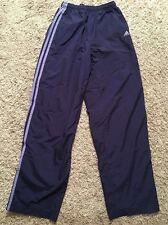 Adidas 3 Stripe Blue Lined Nylon Workout Pants W/ Drawstring, Sz M