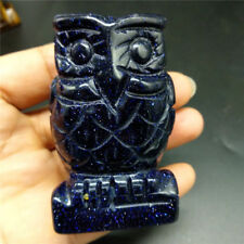 Blue Goldsand Owl Crystal Statue Figure Animal Owl Handcarved Bird Owl Statue