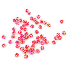 20pcs Hot Sale Findings Rhinestone China Red Resin Spacer Loose Bead 10mm L