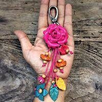 Pink Rose Genuine Leather KeyRing Keychain Handmade Flower Charm Purse Floral