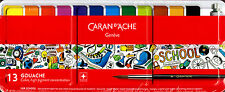 Caran d'Ache SCHOOL LINE 12 Tempera Godet Box Metal +1 Brush +1 White