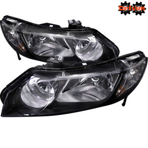 For 06-11 Honda Civic 4dr FA Sedan Black Housing Headlights w/Amber Reflector