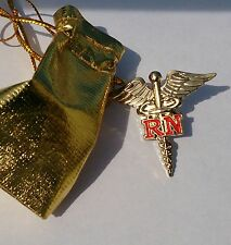 "2x REGISTERED NURSE CADUCEUS RN  LAPEL PIN 1.5"" *Genuine GOLD Plated*  lot of 2."