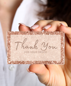 25 Peach Glitter Thank you for your order / Small business Cards