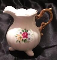 "Antique White Bone China Cream Pitcher Gold Rose Design Vtg  3"""