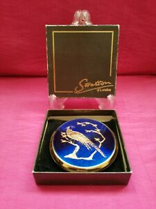 Vintage Stratton Powder Compact - Royal Blue & Gold Enamel Peacock
