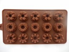 15 AGUJEROS SILICONA CHOCOLATE Flores Forma molde Decoración Tartas Fondant