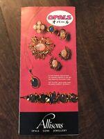 Vintage Allison's Opals Gems Jewelry Sydney, Australia Brochure w/ Map 1970s