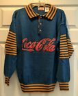 Vintage 1980s Spell out Collared Henley Coca-Cola Sweater Blue & Gold Red Sz L