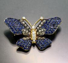 Saphir Brillanten Anhänger / Brosche Schmetterling 750-Gelbgold, Wert 3.780 €