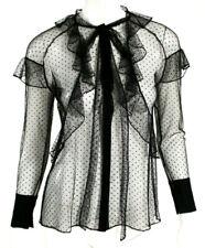 GIVENCHY Black Polka Dot Tulle Ruffle Trim Tie Neck Blouse 36