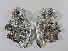 UNUSUAL VTG CHACHA  BOW BROOCH COVERED IN SMOKEY RHINESTONE PRONG SET DANGLES