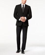$805 Tommy Hilfiger Men Black Fit 2 Piece Wool Suit Jacket Blazer Coat Pants 38r