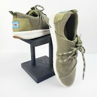 TOMS Women's Olive Green Lace Up Canvas Sneakers Size 7.5 EUC