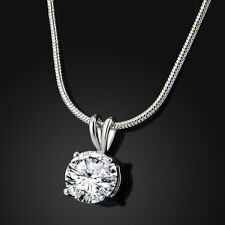 Vogue Noble Women Lady CZ Crystal Pendant White Gold Plated Necklace Chain