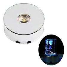 7 LED Light Unique Large Round Rotating Crystal Display Base Stand Holder DQCA