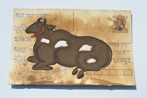 A LOVELY OLD RAJASTHAN MINIATURE PAINTED INDIAN POSTCARD OF A NANDI COW NO 162