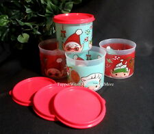 Tupperware New RARE Christmas Set 4 Elf Tupper ELVES Mini Canisters Red Seals