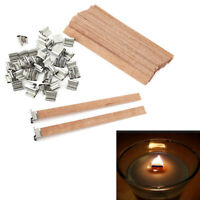 6-13mm Environmental Wooden Wick Wax Candle Core Candlestick Sustainer Tabs UK