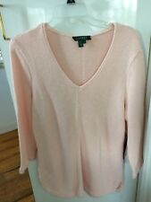 Lauren By Ralph Lauren Womens Sweater Mercerized Cotton Knit Pink V Neck XL NWT