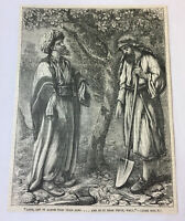 1885 magazine engraving~ PARABLE OF THE BARREN FIG TREE Lord Let It Alone