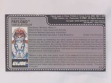 1987 GI Joe Payload Defiant Crusader Pilot UNCUT File Card Red Back Authentic