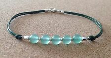Green AVENTURINE Beads, Leather Cord, Silver Plated, Charm Friendship Bracelet