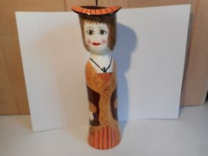 Vintage Susan Paley by Ganz Laurie Orange Pottery lady tall vase